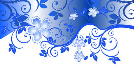 テキスト用のスペースとブルーの花柄のパターン