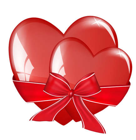 Two hearts tied with a bow