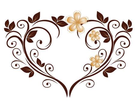 Openwork heart from a flower pattern Illustration