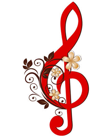 Treble clef with a flower pattern Vector