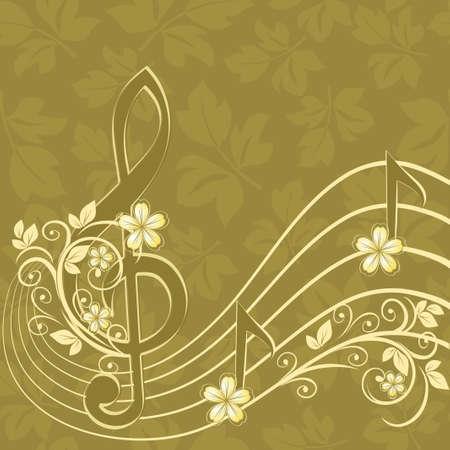 orquesta clasica: Fondo musical con una clave de sol y un patr�n de flores