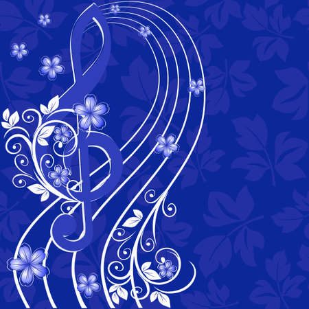 Musical background with a treble clef and a flower pattern Vector