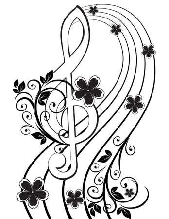clave de sol: Fondo musical con una clave de sol y un patrón de flores