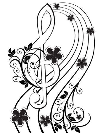 tunes: Musical background with a treble clef and a flower pattern Illustration