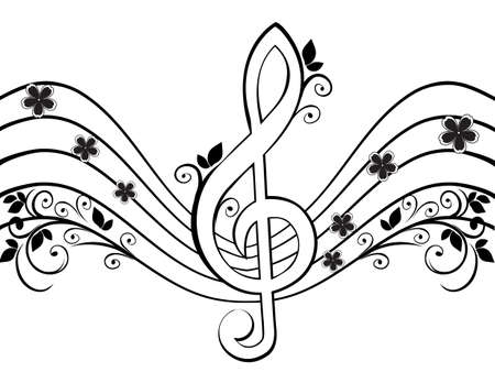 chords: Musical background with a treble clef and a flower pattern Illustration