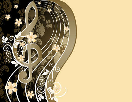 Beige musical background with a treble clef and a flower pattern Illustration