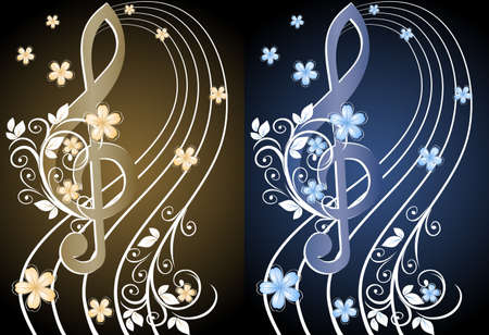 treble clef: Beige musical background with a treble clef and a flower pattern Illustration