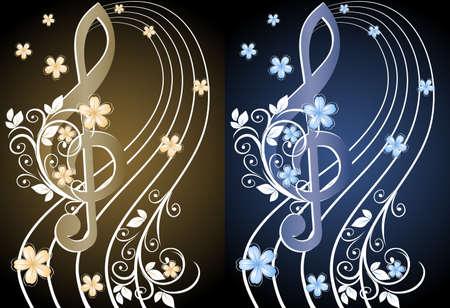 clef de fa: Beige sur fond musical avec une cl� de sol et un motif de fleur Illustration