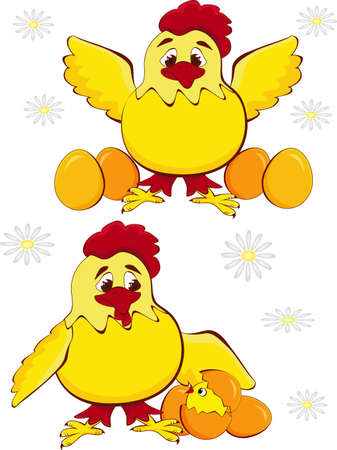 chicken mother with baby egg Vector