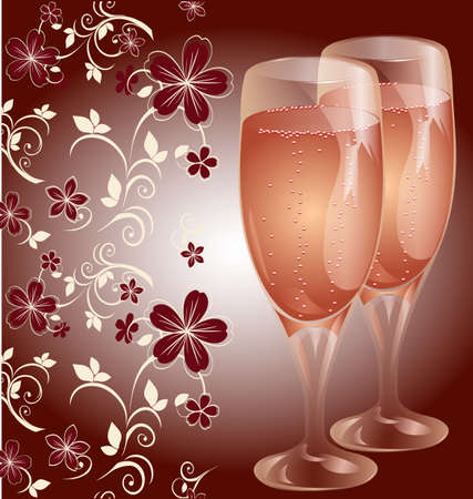 bright postcard with glasses of champagne Vector