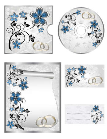 wallpaper rings: Wedding CD Labels on a white background Illustration