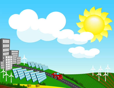 Landscape with environmentally friendly forms of energy Vector