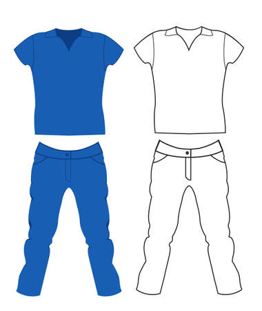 mens clothing: Jeans and T-shirt. Mens Clothing. Illustration