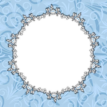 Round blue floral frame Vector