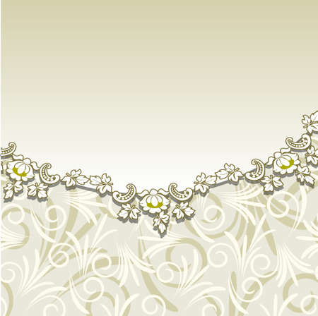 Beige background with floral ornament. Vector