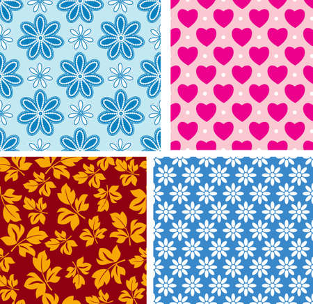 Four seamless pattern with childrens area Vector