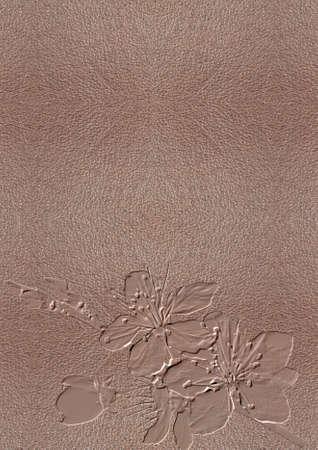 texture of the skin with embossed cherry blossom Stock Photo