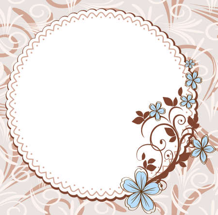 congratulation: Vintage frame with floral pattern Illustration