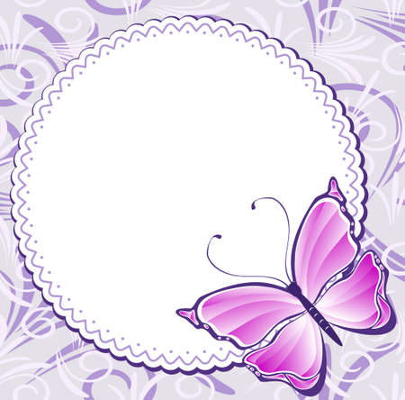 Vintage frame with pink butterfly Stock Vector - 13209382