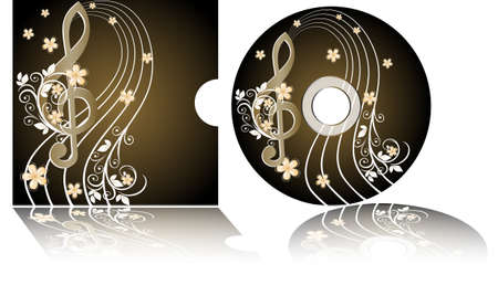 cd label: CD label with the treble clef Illustration