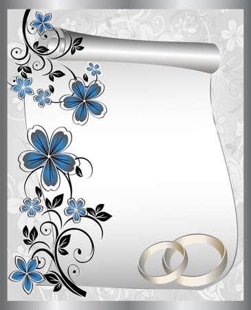saludo: Tarjeta de boda con un estampado floral y el lugar para el texto