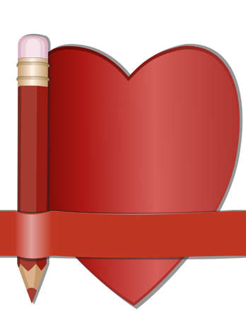 Pencil and paper for notes in the shape of a heart Vector