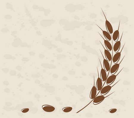 Ear of wheat in the grange background Vettoriali