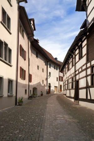 Stein an Rhein. The street of the ancient Swiss town. Europe photo