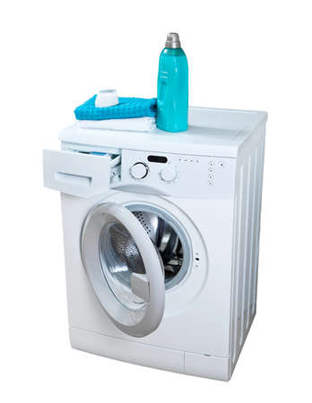 lavandose las manos: Lavadora y detergente en polvo para lavar. Foto de archivo