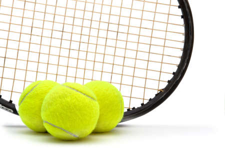 Tennis racket and ball on white background Stock Photo - 13694405