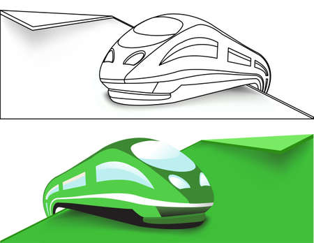 Green High-speed train Stock Vector - 14293826