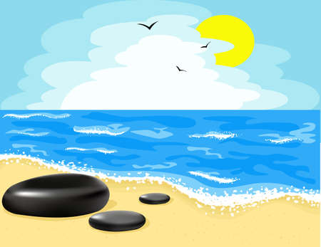 Illustration of the beach and the sky Vector
