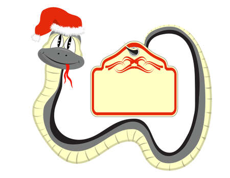 Snake in a Santa Claus hat with a paper in the tail Vector