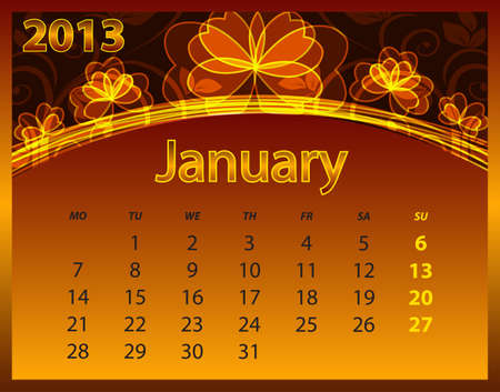 2013 calendar year on the abstract orange background Stock Vector - 14572575