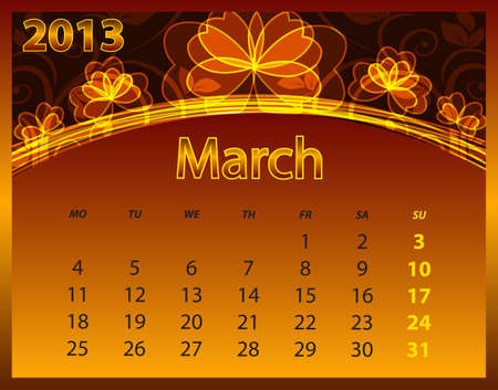 2013 calendar year on the abstract orange background Vector