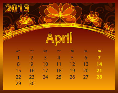 2013 calendar year on the abstract orange background Stock Vector - 14572568