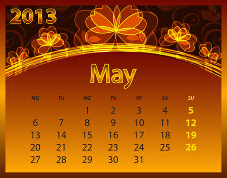 2013 calendar year on the abstract orange background Stock Vector - 14572571