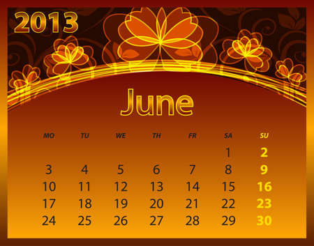 2013 calendar year on the abstract orange background Stock Vector - 14572570