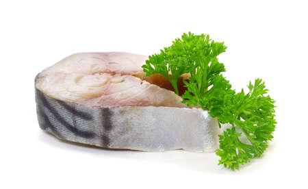 fishy: Salted mackerel with lemon on a white background Stock Photo