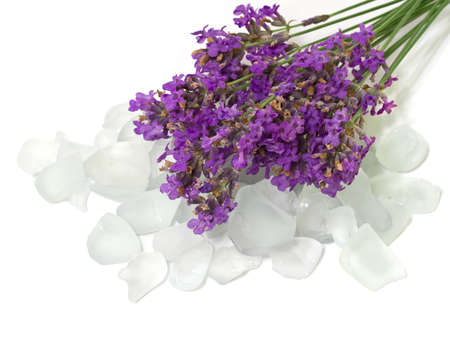 Salt bath with lavender  Isolate on white  photo
