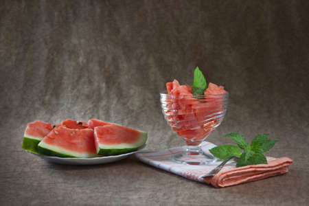 Still Life with ripe watermelon photo