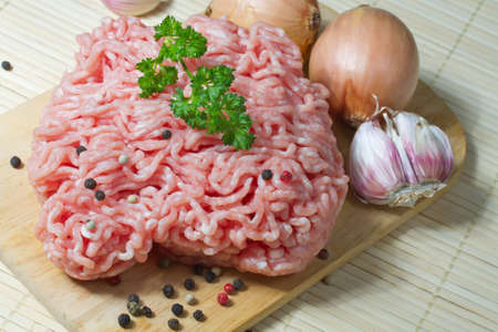 beef meat: raw minced meat ready for cooking