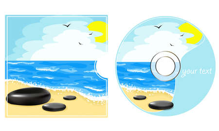 cd label: CD label with a sea view