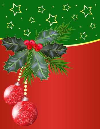 Christmas and New Year card with holly leaves and berries  Vector