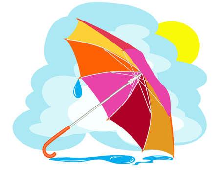Color umbrella with rain drops against the sky Vector
