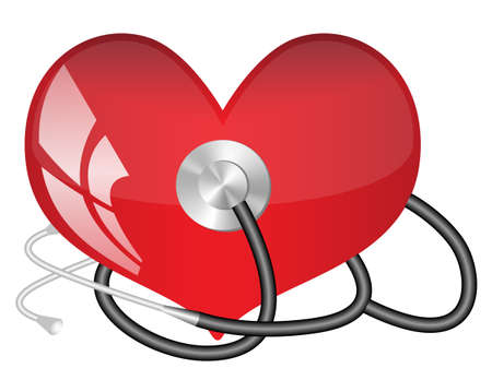 Medical stethoscope and  heart Illustration