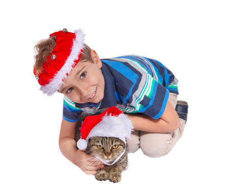 Christmas boy with a cat  in a santa claus hat  Isolate on white background  photo