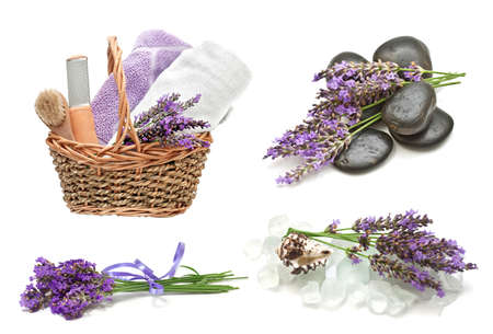 Spa  set with a lavender on a white background photo