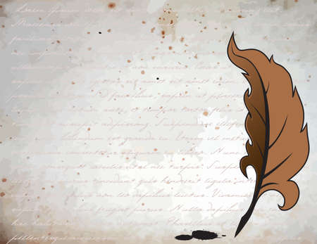 Feather for writing on a vintage background Vector