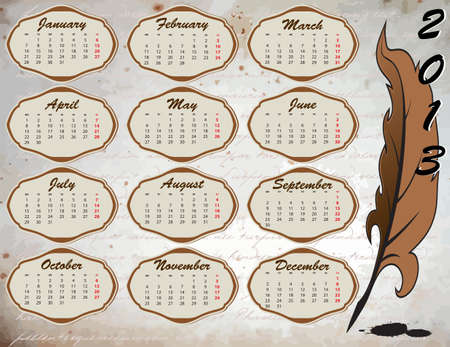 Calendar on vintage background with feather Vector